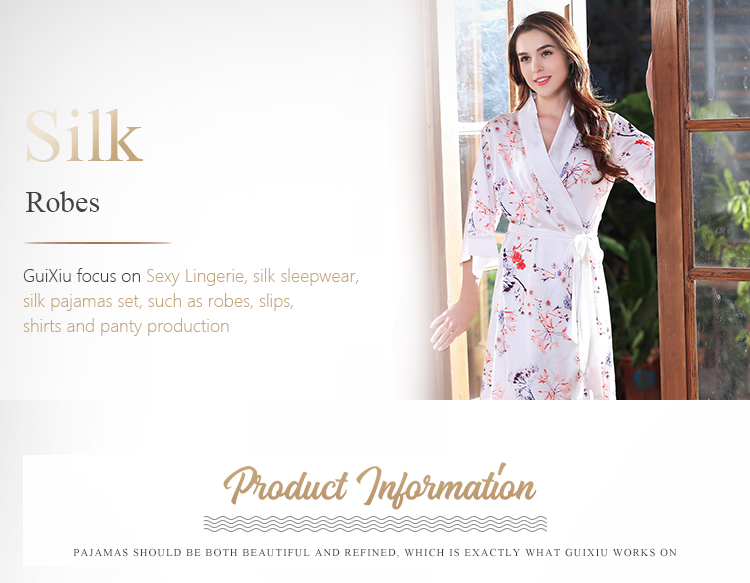 6bd4ab7b66 Funky Silk Robe Dressing Gown Deep V Sexy Printing White Floral Silk Robes  - Buy Silk Robe Dressing Gown