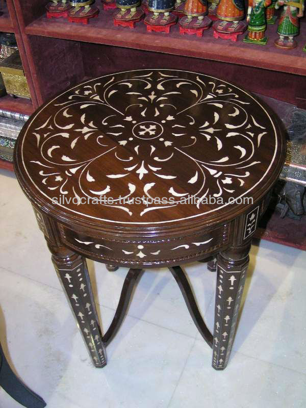 Indian Moroccan Style Camel Bone Inlay Coffee Console Table Furniture Mother Of Pearl From India