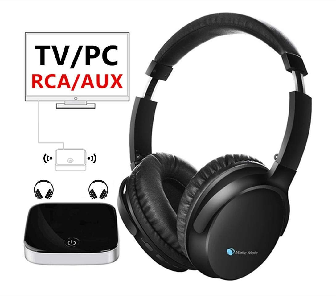 Wireless TV Headphones Over Ear.Bluetooth Transmitter with AptX Low Latency(Optical Digital Audio,RCA, 3.5mm AUX Ported TVs),Dual Link for Two Headphones.Hi-Fi Headsets with Mic.Plug & Play.(Black)