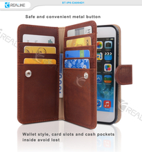 Genuine leather flip case cover for iphone 6 plus