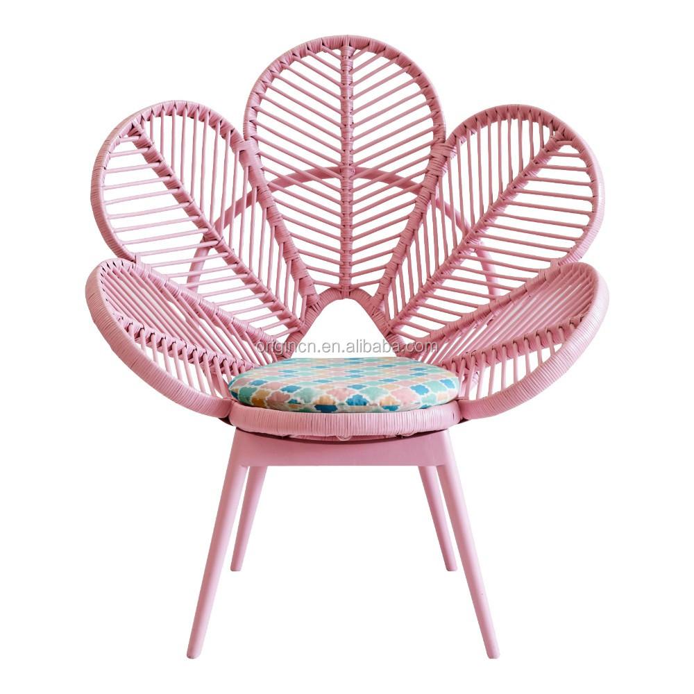 Pink and green cute school furniture flower shaped PE Polyethylene rattan peacock chair