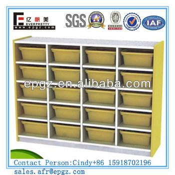 Children Bookcase With Plastic Boxes Wooden Bookcase Design Daycare