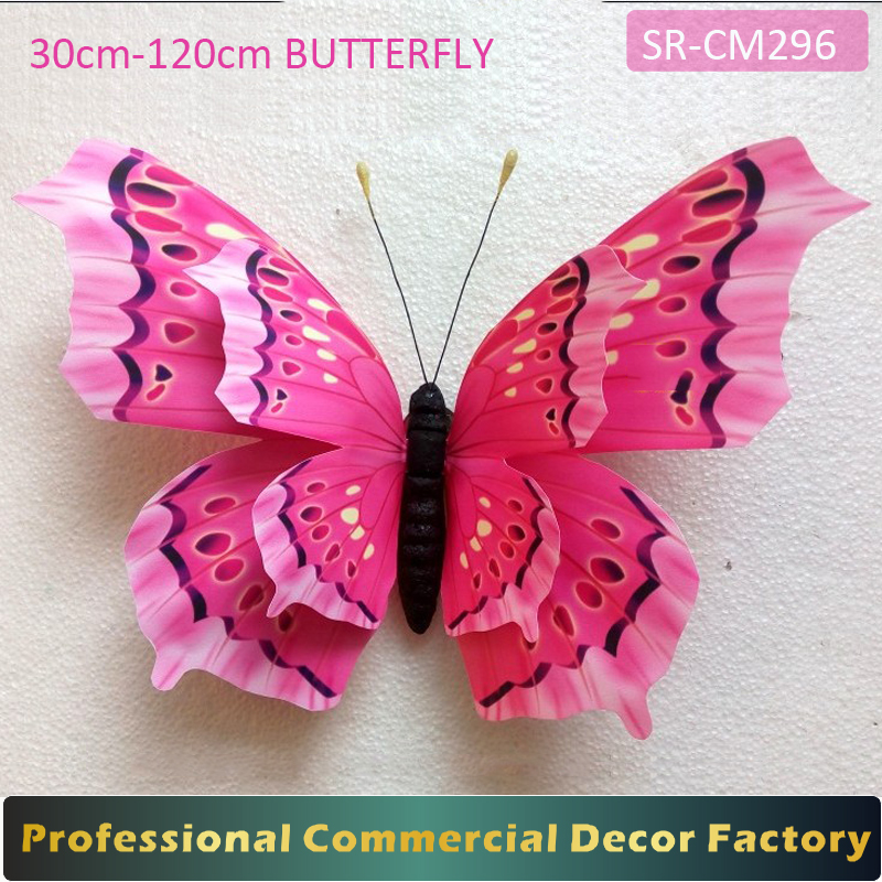 Custom commercial 30-120cm large hanging butterfly for spring decoration
