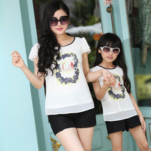 Lace matching mother and daughter clothes t shirt and pants mom and daughter dress family clothes