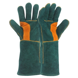 Cow Split Green Leather Working Hand Protection Welder Rigger Welding Gloves