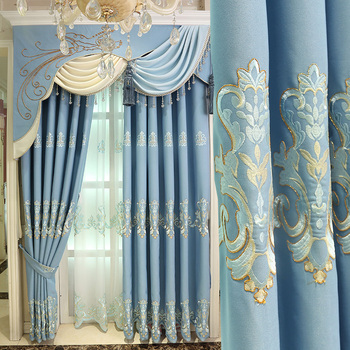 100 Cotton Linen Shade Blue Embroidery Cloth European Style Cheap Selling Curtains Fabric