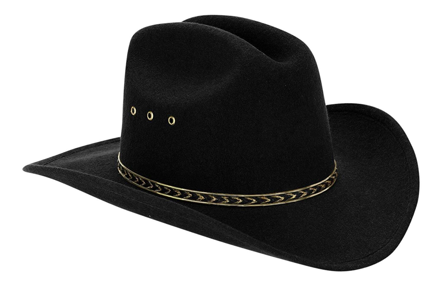 a0cb4770f79 Get Quotations · Western Black Child Cowboy Hat for Kids (Black Gold Band)  Size 6 5