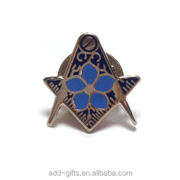 small soft enamel Masonic metal lapel pin bage with blue flower for event