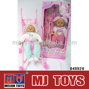 Baby stroller ,16 inch baby doll with voice and light baby doll set