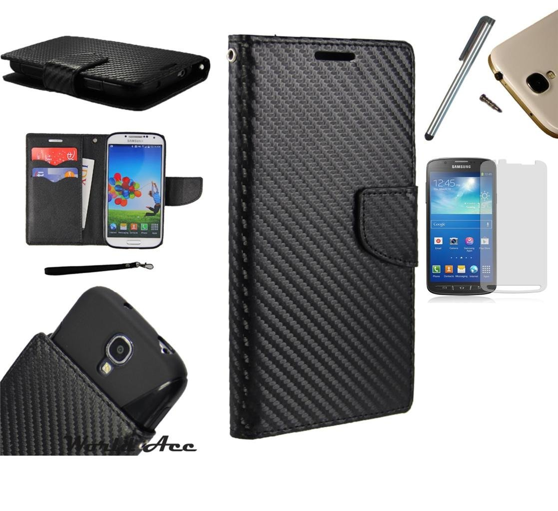 For LG Tribute LS660 / LG Optimus F60 / LG Transpyre (Virgin Mobile Verizon) PU Leather Flip Cover Folio Book Style Pouch Card Slot Myjacket Wallet Case + [WORLD ACC®] Brand LCD Screen Protector + Stylus Pen + Black Dust Cap Free Gift (Pu Leather Wallet Black Carbon Fiber)