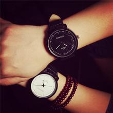 2015 Unisex Leather Strap Watches Men Luxury Brand Large Dial Men Watch For Lovers Black White Sport Women Quartz Watch AB320