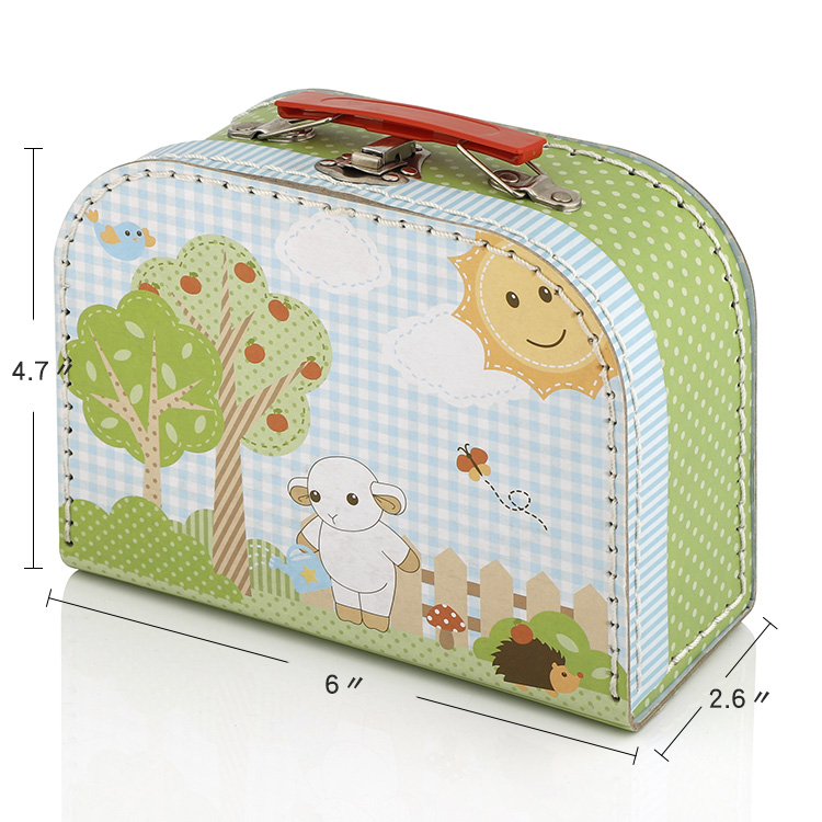 Custom wholesale decorative cardboard suitcase box with metal handle