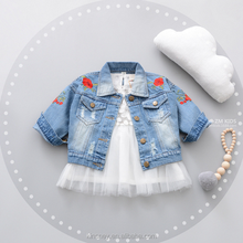 KS10732A Washed design baby girls nice embroidery jean jacket 2018