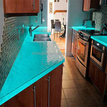 Lovely Contemporary Luxury Tempered Glass Countertop For Kitchen