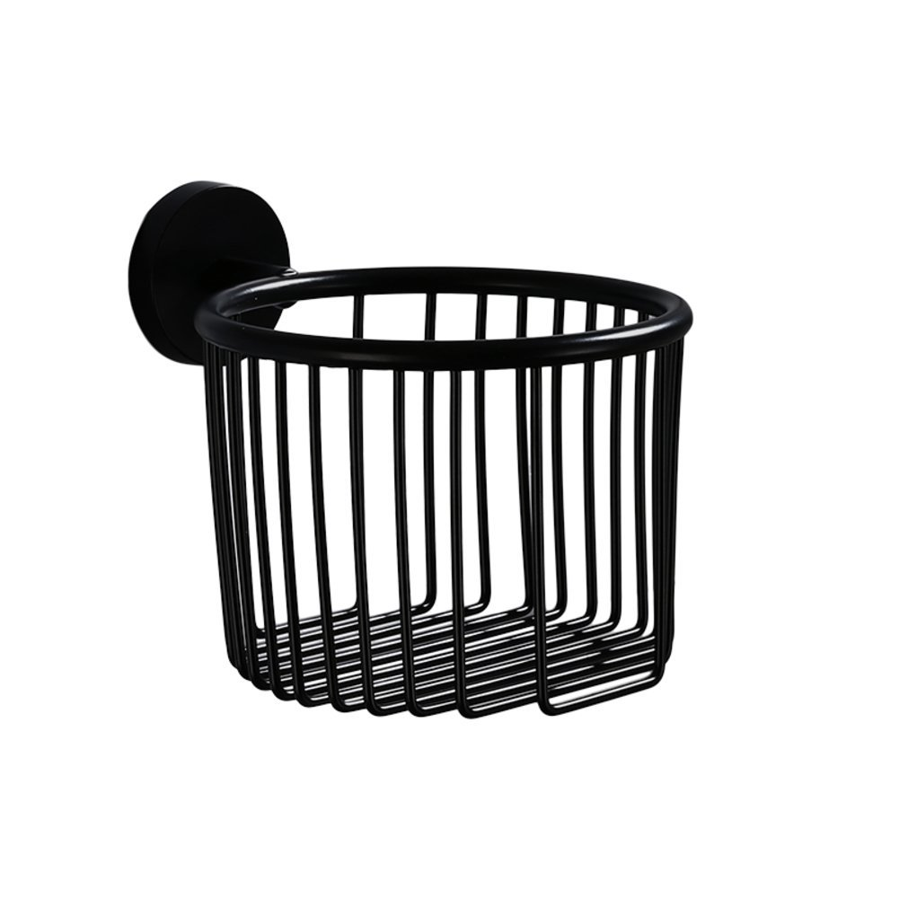 TY&WJ Antique Toilet paper holder,Stainless steel Tissue paper roll Dispenser Bathroom Tissue holder Wall mount Punch-free-black 14x14x10cm(6x6x4inch)