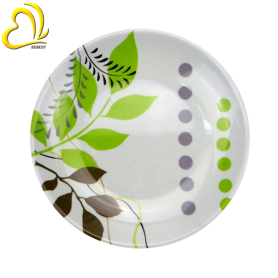leaf designs printing plate two tone melamine plates