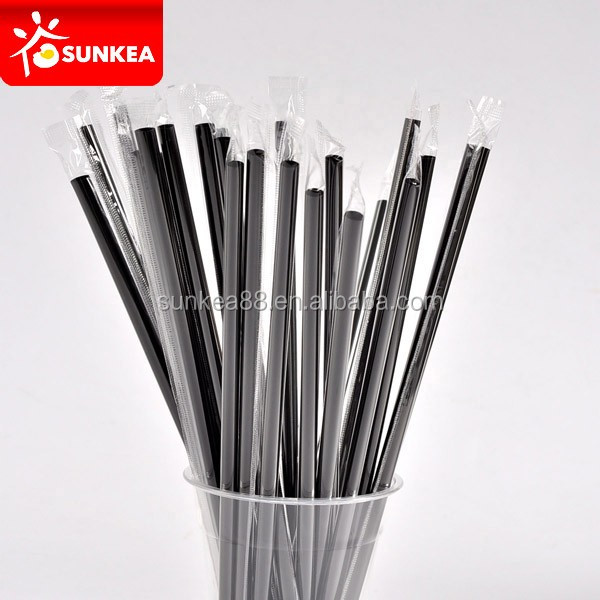 Disposable cute plastic black straight drinking straw