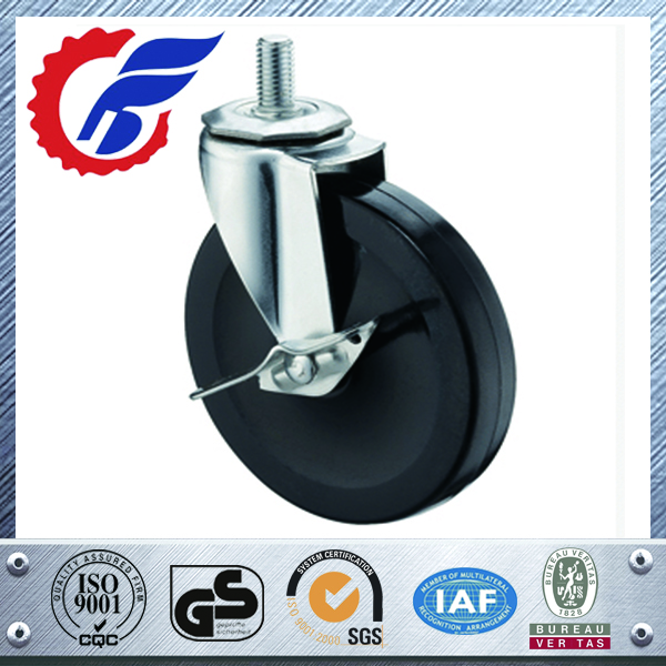 Swivel Caster Wheels Rubber Base with Top Plate and Bearing, Heavy Duty Caster Wheel