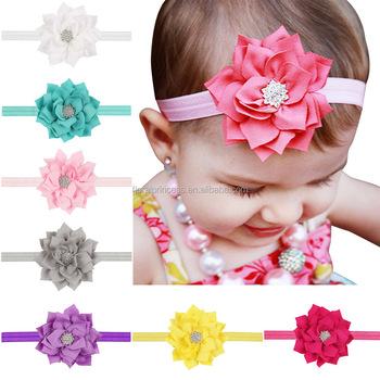 Baby Hoop Lotus Leaf Diamond Elastic Headbands Christmas Gift Children Head Wear Photography Props