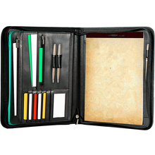 2018 verkoopbare professionele interview hervatten ritssluiting tablet mouw card slot PU lederen <span class=keywords><strong>padfolio</strong></span>
