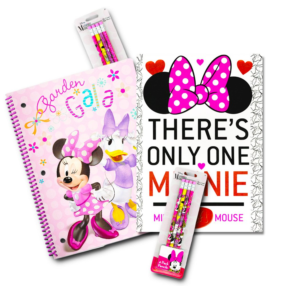 Disney Minnie Mouse School Supplies Value Pack -- 10 Pcs (8 Pencils with Erasers, Notebook, Folder)