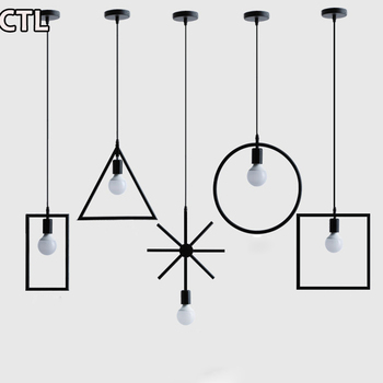 Iron square hanging lights American retro LED chandeliers