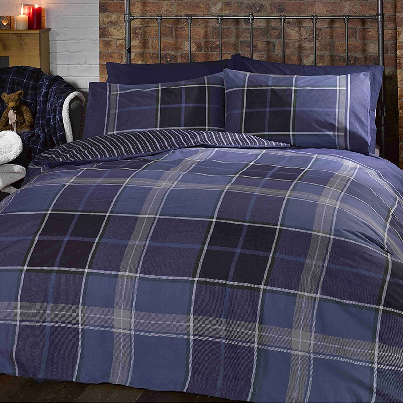 Just Contempo Double Duvet Cover ( Boys Bedroom ) Cotton Blend Tartan Duvet Cover - Modern Check Bedding Reversible Striped Navy Blue Bed Set, Blue