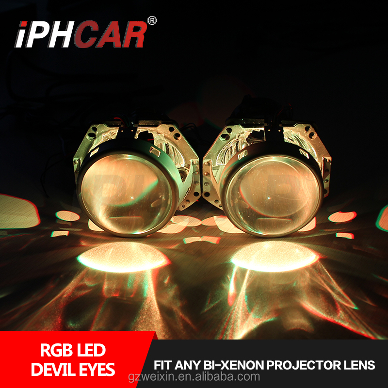 Super Brightness Car RGB Devil Eyes Projector Lens Headlights