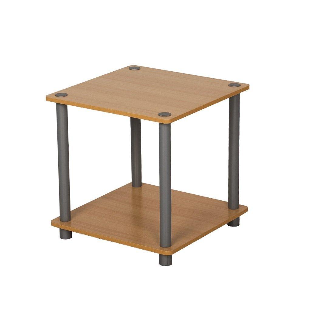 LQQGXL Storage and organization Home Economics Simple Modern Wooden Living Room Shelves Square Simple Shelves Sofa Side Shelves Bedroom Bedside table 40x40x40.8 cm (Color : Wood color)