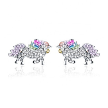 Valentine's Day Gift Cartoon Horse Pony Stud Earrings Multicolour Unicorn Earring