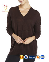Classic V Neck Loose Sweater,Ladies Merino Wool Pullover Sweater