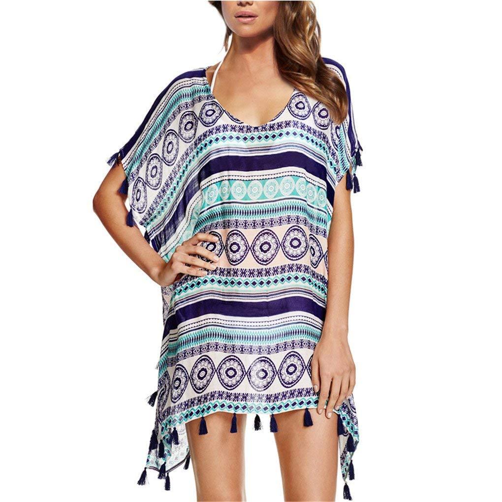 b89b37f8d2 Get Quotations · Ribart Women s Beach Coverups Chiffon Tassel Kaftan  Swimsuit Bathing Suit Cover UPS