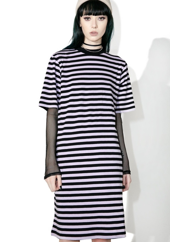 Organic Cotton Allover Stripe Dress with Extended Sleeves
