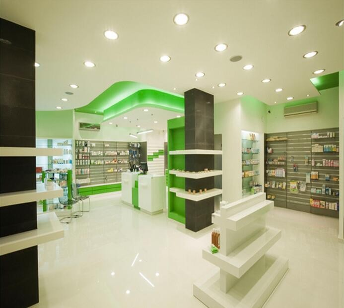 Fresh green pharmacy shop interior design for retail for Sustainable interior design products