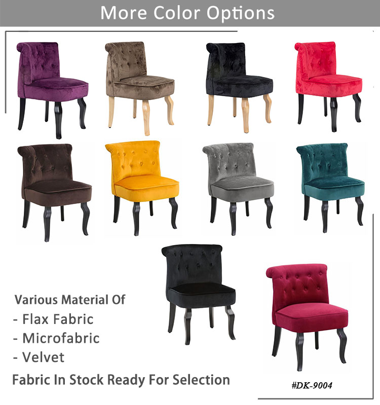hot selling tufted velvet fabric solidwood sliiper chair European style
