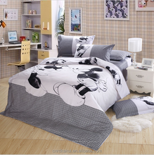 Black white Mickey cartoon kids bedding set 3/4pcs cotton King queen double twin size comforter duvet cover set