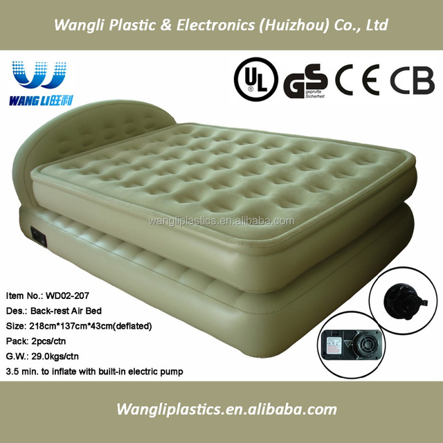 double size flocked air bed frame travel air mattress