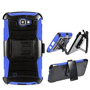 Phone Case for Verizon Wireless Prepaid LG Optimus Zone 3 4G LTE / LG Spree ( Cricket Wireless ) Blue Edge Cover Kickstand Combo Holster Belt Clip For Straight Talk LG Rebel 4G LTE