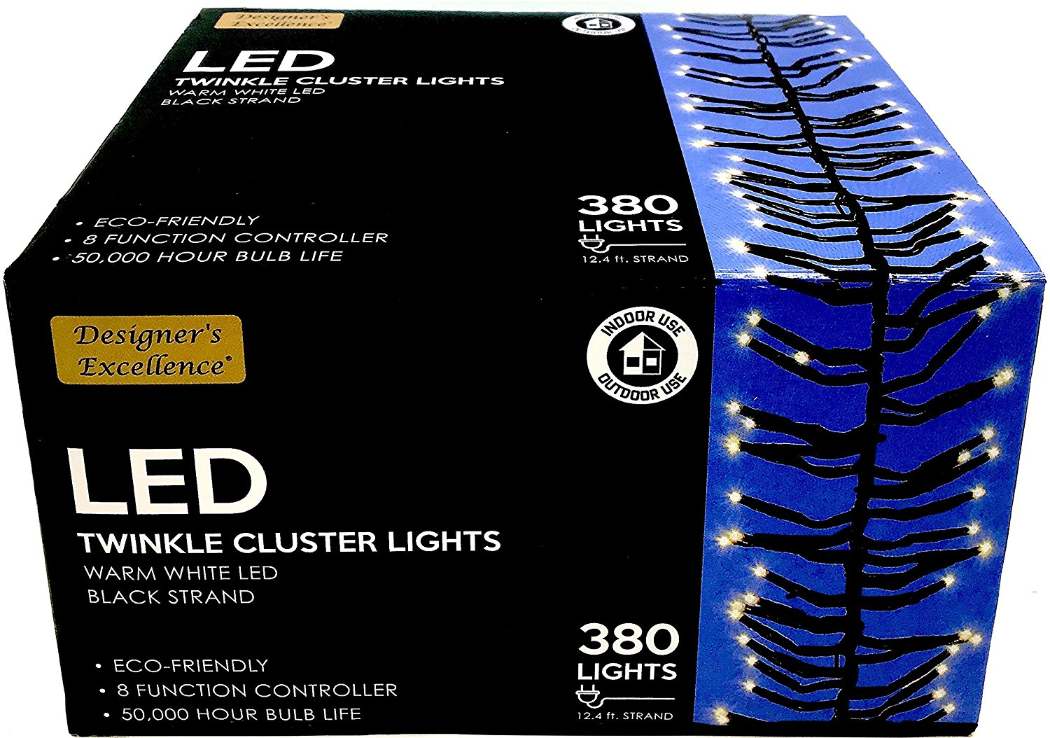 NEW! 12' Decorative Twinkle Cluster Lights, Warm White LED Bulbs with 50,000 Hour Life!! 8 Lighting Mood Scenes with a Click (Twinkle, Flash, Steady, Waves, Fade, More), Indoor/Outdoor, Year-Round Use