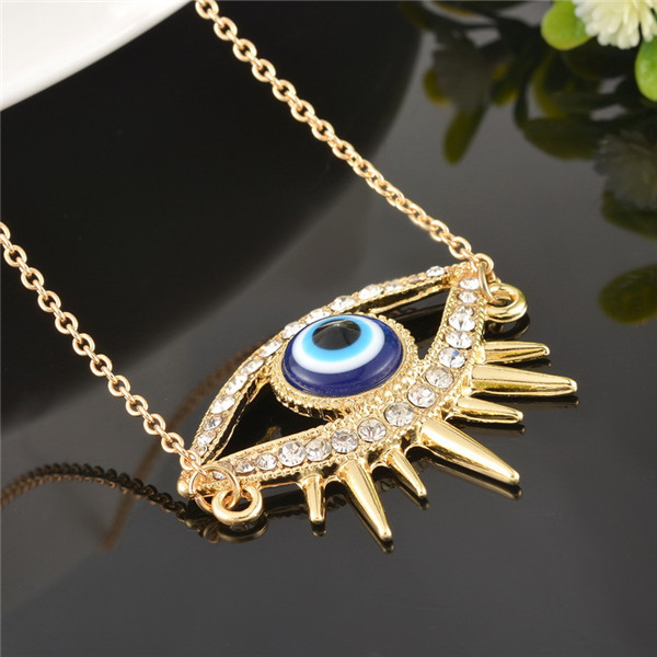 Turkish Fashion Evil Eye Chain Pendant Necklace Charm Statement Necklace Good Luck Jewelry