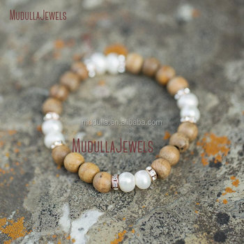 Bo14621 Pearl Bracelet Olive Wood Beads Rose Gold Rhinestones Better Together Anniversary Gift For Her Soulmate Jewelry Wooden Bead