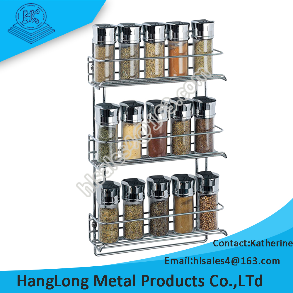 household use wall mounted durable metal spice rack