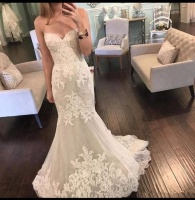 XN1816 Elegant Sweetheart Neck Mermaid Wedding Dress 2018 Lace Appliques Sweep Train Custom Made Bridal Gown