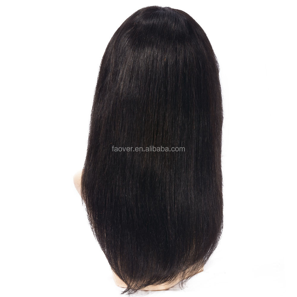 Factory Price Virgin Brazilian Hair 130% Density Full Lace Wig With Bang For Black Women