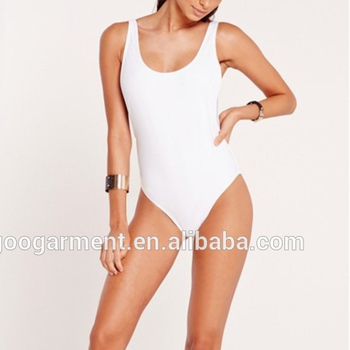 49ff3730d20 Basic White Women One Piece Bathing Suit Blank High Leg Drop Side Swimsuits  Plain Swimwear Wholesale