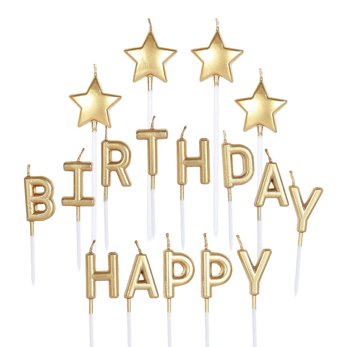 PinkBlume Gold Happy Birthday Candle,Star Cake Toppers Party Decorations- Birthday Letters Candles, Metallic Happy Birthday Cake Candles for Adults/Kids