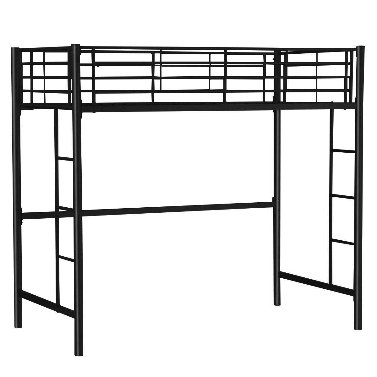 "Globe House Products GHP 79""x42""x71"" 330-Lbs Capacity Black Steel Bed Frame with Ladder & Guardrails"