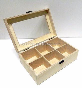 Custom Solid Handmade Glass Lid Wooden Jewellery BoxWood Box