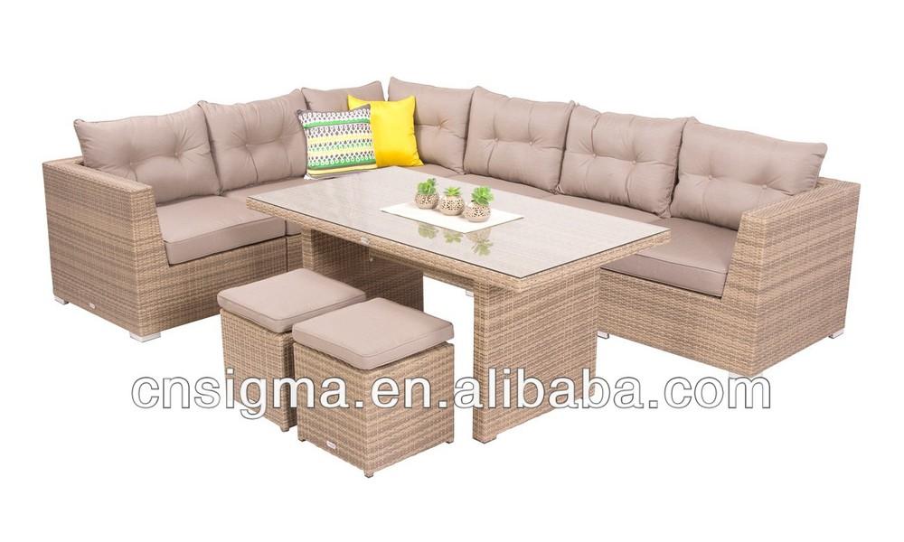 2014 Mobiliario Moderno Jardín Sofá 9 pc Mimbre Mesa de comedor Sofá ...