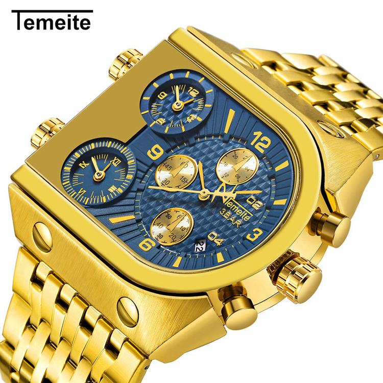 TEMEITE DS-1 Big Quartz Watches Men Military Waterproof Business Wristwatch Luxury Gold Steel Male Clock Golden Men Quartz Watch фото